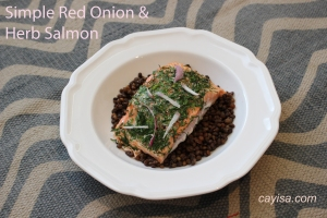 simple red onion salmon
